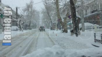 Σε λευκό κλοιό η πόλη της Λαμίας.....(ΦΩΤΟΓΡΑΦΙΕΣ)